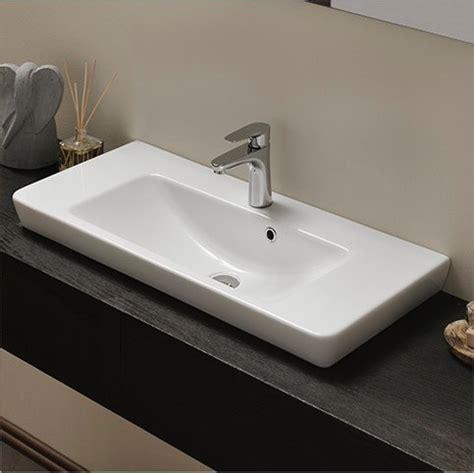 Self Bathroom Sink by Rectangular White Ceramic Wall Mounted Vessel Or Self