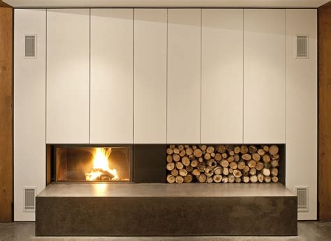 contemporary fireplace wood store house  prospect