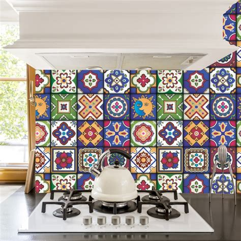 Kitchen Backsplash Stickers by Mexican Tiles Stickers Pack Of 16 Tiles Tile Decals
