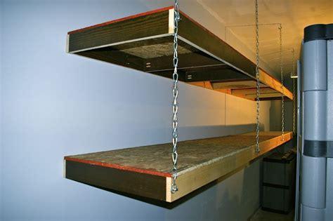 Garage Shelving Hanging by Wood Shelves Hanging From Ceiling Garage Shelving Using