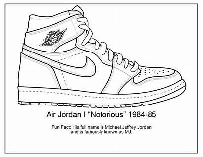 Jordan Air Shoes Coloring Pages Sketch Drawing