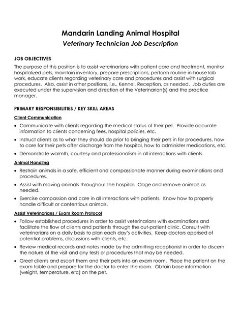 Veterinary Technician Duties Resume by Best Photos Of Template Of Description For Vet Tech