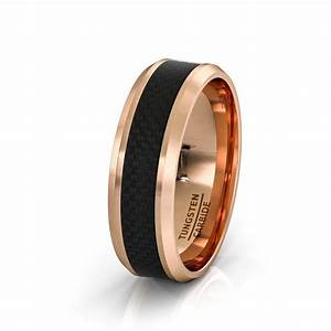 mens wedding band 8mm rose gold tungsten ring polished With black tungsten ring rose gold wedding band
