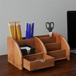 5, Compartment, Bamboo, Desk, Organizer