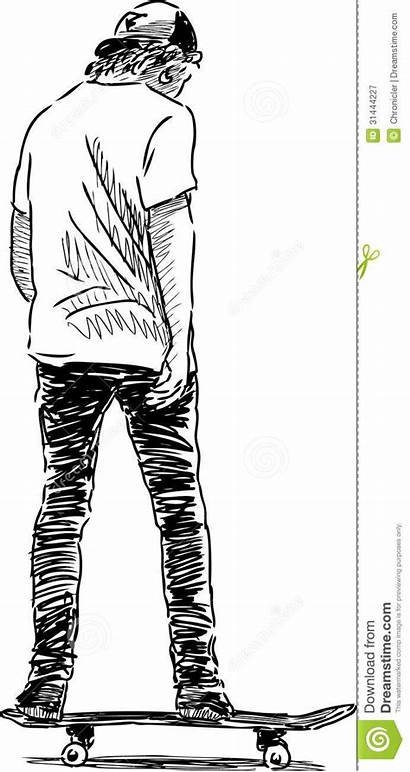 Skateboard Skateboarder Drawing Skateboardfahrer Riding Zeichnung Young