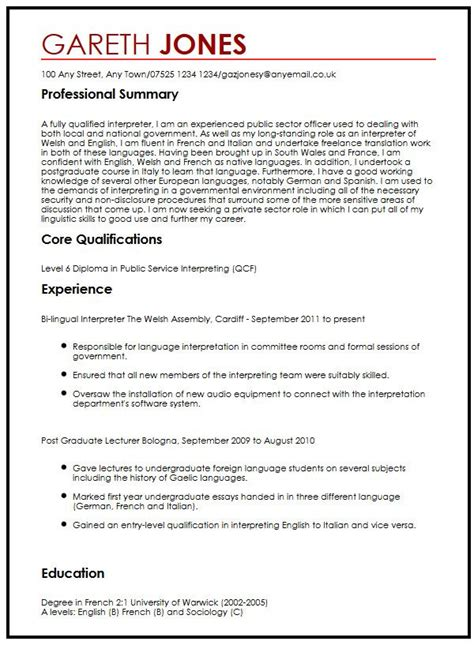 Language On Resume Not Fluent by Cv Exle With Language Skills Myperfectcv