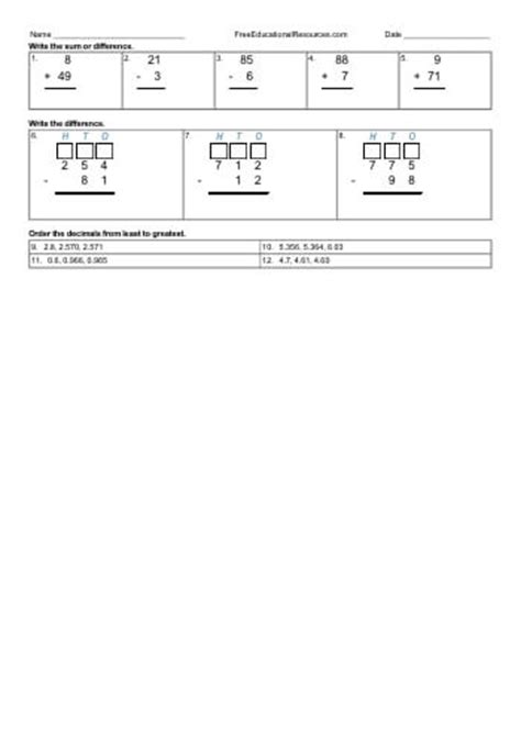 3rd grade math review worksheets freeeducationalresources