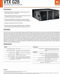 Jbl Vtx G28 Spec Sheet 5 12 15