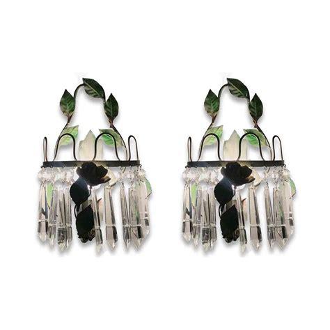 applique ferro coppia appliques ferro laccato verde e cristalli 1950