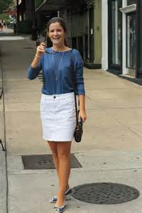 White Denim Pencil Skirt Outfit