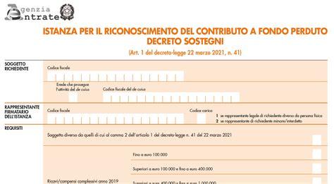 Decreto Sostegni, (scarica pdf) i moduli per i contributi ...