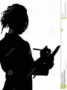 Silhouette With Clipping Path Of Woman Writing On Tablet ...