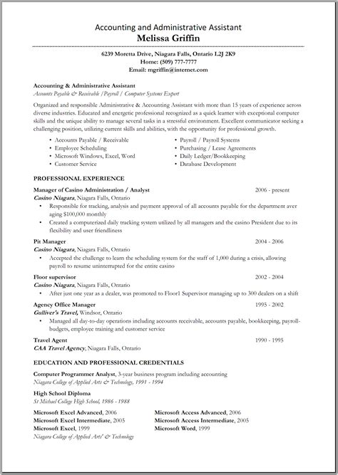 Exle Of Administrative Assistant Resume by Great Administrative Assistant Resumes Accounting And