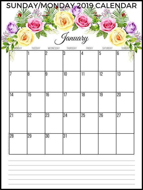 planner printable   sunday  monday