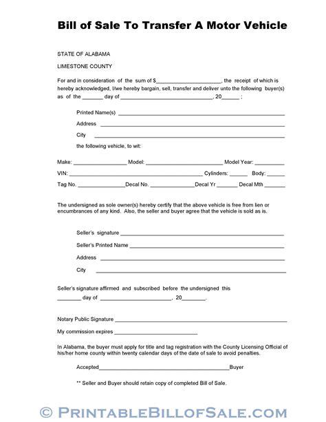 Boat Donation Alabama by Free Limestone County Alabama Vehicle Bill Of Sale Form