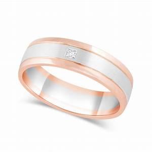 men39s 9ct rose gold palladium diamond wedding ring With rose gold wedding ring