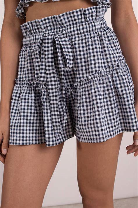 Gingham Shorts blue blue shorts tiered shorts blue gingham