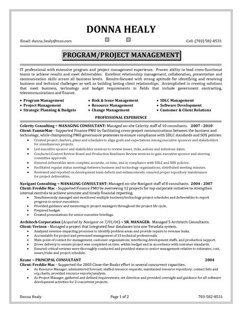 It Manager Resume Tips by Project Manager Resume Skills Student Resume Template