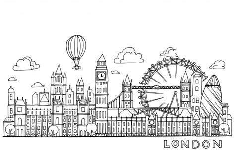 london doodles drawing landscape vector premium