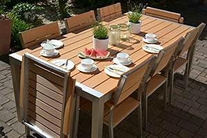 Polywood Gartenmöbel Set : gartenm bel miami tisch 200x100 6 stapelst hle und 2 hochlehner 8 personen holzdekor hell ~ Markanthonyermac.com Haus und Dekorationen