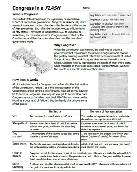 the congress at work worksheet worksheets for all