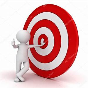 3d man showing thumb up with red target — Stock Photo ...