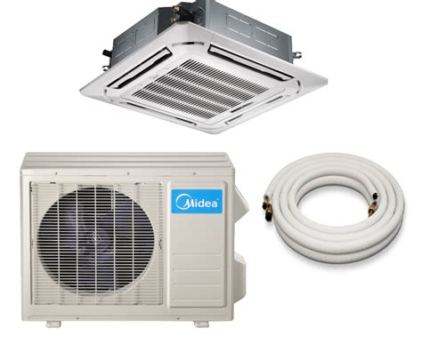 Ceiling Cassette Mini Split Size by Midea 18000 Btu 16 5 Seer Ceiling Cassette Mini Split Heat