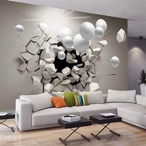 Papier Peint Sticker : papier peint 3d cr ant un effet abstrait et trompe l il ~ Premium-room.com Idées de Décoration