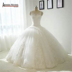 Amanda novias big ball gown puffy wedding dress dropped for Wedding dresses not puffy