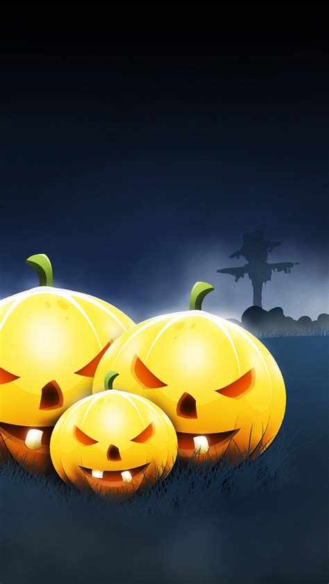 wallpaper pumpkins scary halloween night hd