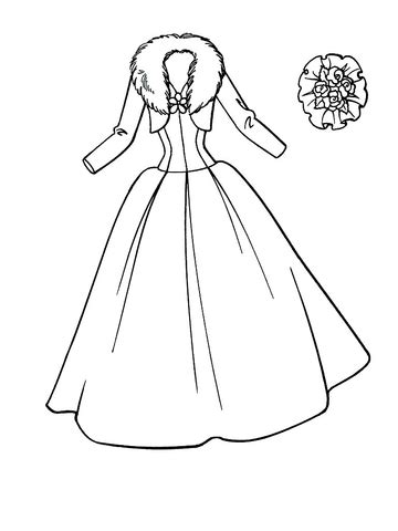 wedding dress coloring page supercoloringcom