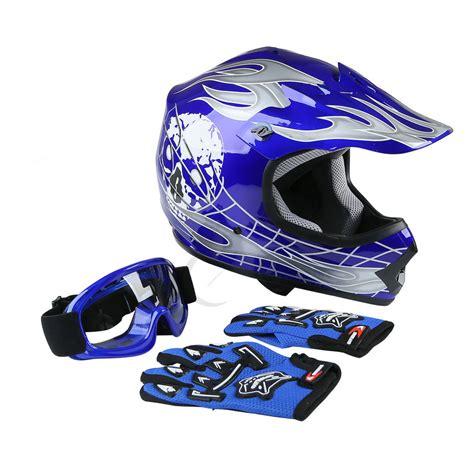 dot motocross helmets new dot youth blue skull dirt bike atv motocross atv