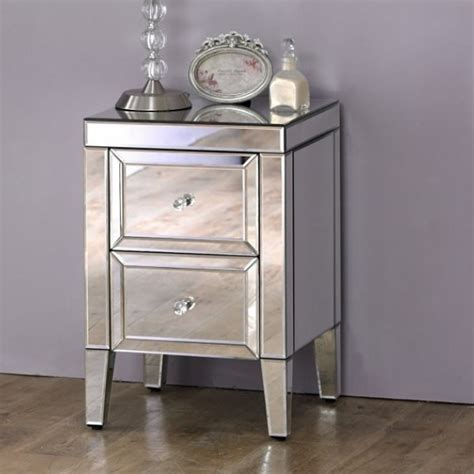valencia mirrored  drawer bedside chest