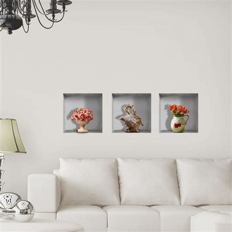 Vase Flower 3d Riding Lattice Wall Decals Pag Removable