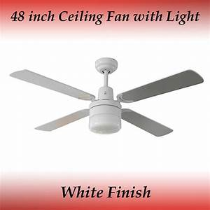 Fias tash blade ceiling fan in white with light