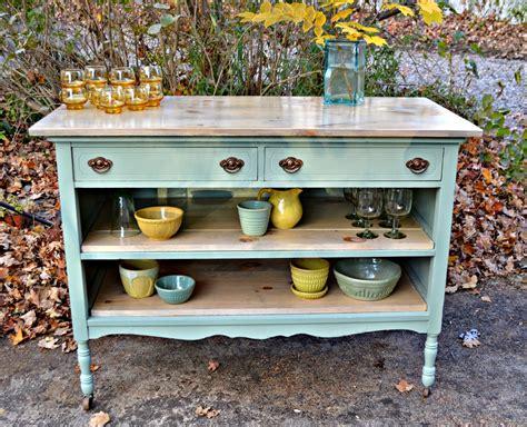 heir  space  antique dresser turned island  pale aqua