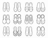 Clip Loafer Shoes Different Types Illustrations Outline Pair Vector sketch template