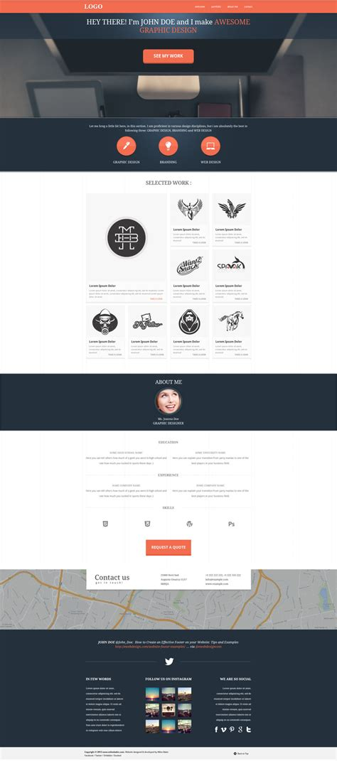 Page Template Psd One Page Website Template Milos Babic