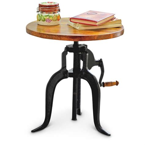30475 retro style furniture present vintage style hi lo adjustable height wooden end table