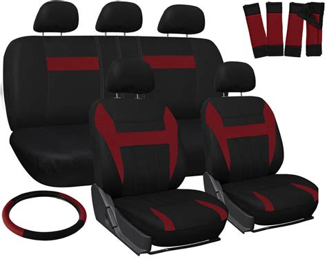Truck Seat Covers For Ford F150 Red Black W/ Steering