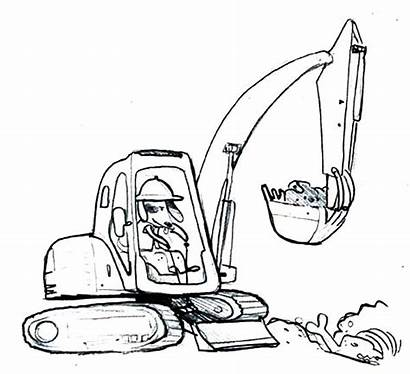 Digger Coloring Colouring Pages Dog Funny Operating