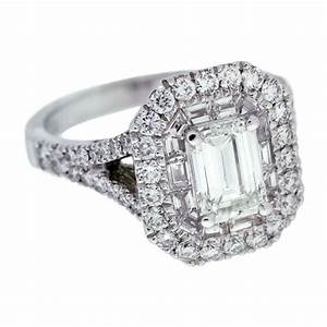 Double Halo Emerald Cut Diamond Engagement Ring ...