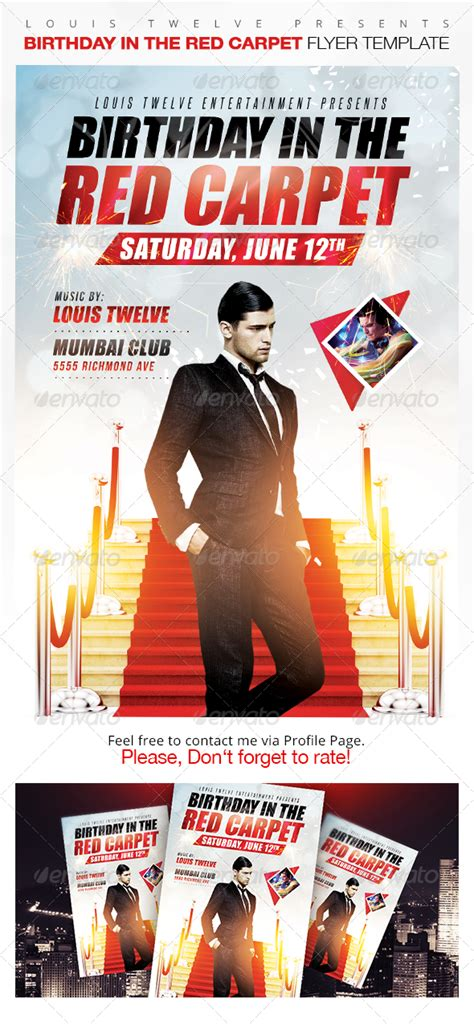 birthday   red carpet flyer template  images
