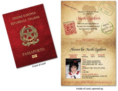 passport  italy custom passport invitations