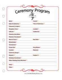 planning a wedding ceremony ceremony program