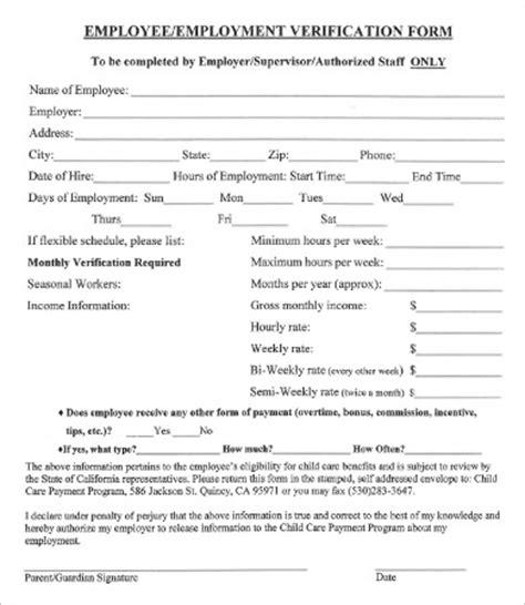 employment verification form template verification of employment template business