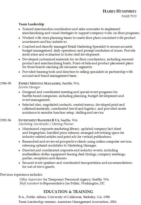 resume for marketing and product management susan