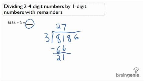 4 4 4 Dividing 2 4 Digit Numbers By 1 Digit With Remainder Youtube