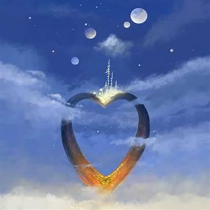 Sky Heart Clouds Ipad Plant Parallax Wallpaperscraft