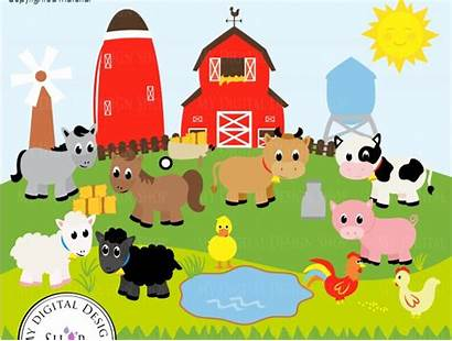 Farm Macdonald Clipart Animals Barn Sheep Vector